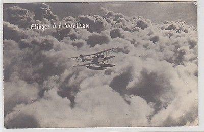 54376 Foto Ak Flieger über den Wolken Flugboot um 1910