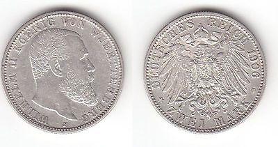 2 Mark Silber Münze Württemberg König Wilhelm Ii 1906 F 113104 Nr