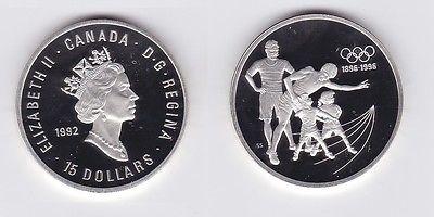15 Dollar Silbermünze Kanada 100 Jahre Olympische Spiele 1992 (117877)