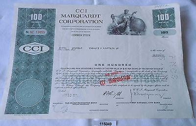 100 Dollar Aktie USA CCI Marquardt Corporation Delaware 13.Januar 1970