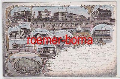 75882 Ak Lithografie Gruss aus Borkum Hotel Eltze, Hotel Bakker u.a. 1897