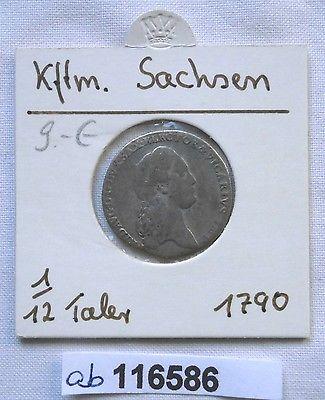1/12 Taler Silber Münze Kurfürstentum Sachsen Friedrich August III 1790 (116586)