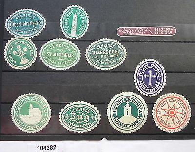 11 alte Vignetten Zug, Zethau, Ullersdorf usw. um 1900 (104382)