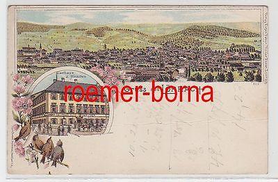 73828 Ak Lithographie Gruss aus Lörrach Gasthaus zum Hirschen um 1900