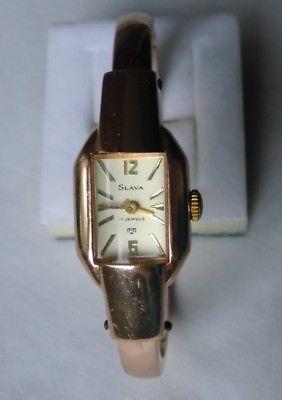 Schöne Damen Armbanduhr Marke Slava mit Klammer Metallarmband  (117136)