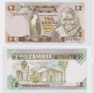 2 Kwacha Banknote Zambia Sambia kassenfrisch (117584)