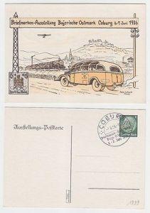 67896 Ak Ganzsache Briefmarken-Ausstellung Bayerische Ostmark Coburg 6.-7.6.1936