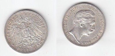 3 Mark Silber Münze Preussen Kaiser Wilhelm II 1910 (113851)