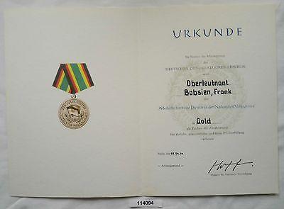 DDR Urkunde Medaille für treue Dienste Ministerium des Innern in Gold (114094)