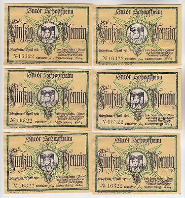 6 Banknoten Notgeld Stadt Schopfheim Gründruck 1921 (112741)