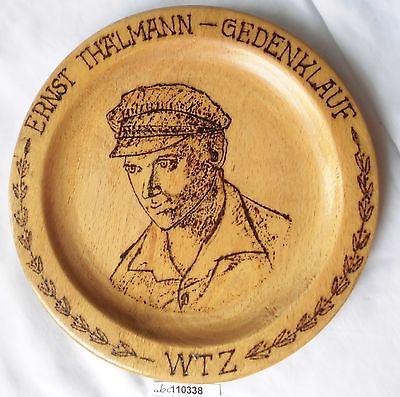Seltener Souvenir Teller Holz Ernst Thälmann Gedenklauf WTZ (110338)