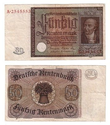Banknote 50 Rentenmark 1934 Rosenberg Nr. 165 (108165)