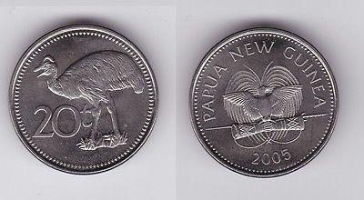 20 Toea Stahl Münze Papua Neuguinea Kasuar 2005 119485 Nr