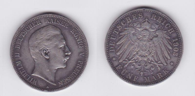 5 Mark Silbermünze Preussen Wilhelm II 1903 A Jäger 104  (117107)