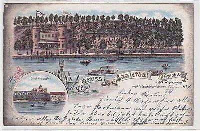 71295 Ak Lithografie Gruss aus dem Saalethal und der Felsenburg, 1899