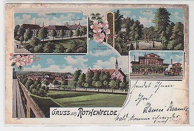 71685 Ak Lithographie Gruss aus Rothenfelde Bahnhof, Spielplatz, Badehotel 1904