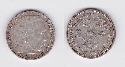 2 Mark Silber Münze 3.Reich Hindenburg 1936 G Jäger 366 (120220)