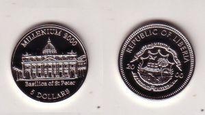 5 Dollar Nickel Münze Liberia 2000 Petersdom Basilica of St.Peter (116464)