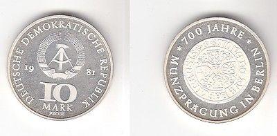 DDR Gedenk Münzen 10 Mark 700 Jahre Münzprägung in Berlin 1981 Probe PP (118731)