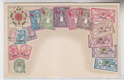 34077 Wappen Ak Sansibar Zanzibar mit Briefmarken um 1900