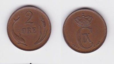 2 Öre Kupfer Münze Dänemark 1902 (122951)