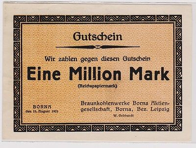 1 Million Mark Banknote Braunkohlenwerke Borna 15.8.1923 (120339)