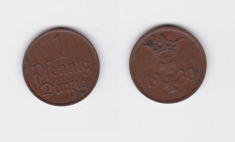 1 Pfennig Kupfer Münze Danzig 1930 Jäger D 2 (122151)