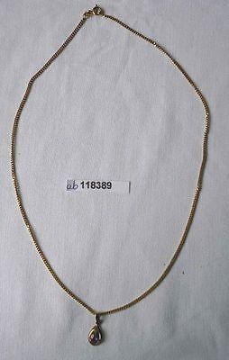 Elegante Kette und Anhänger mit violettem Stein 333er Gold (118389)