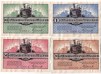 4 Banknoten Inflation Braunkohlenwerke Borna A.G. 1923 (113117)