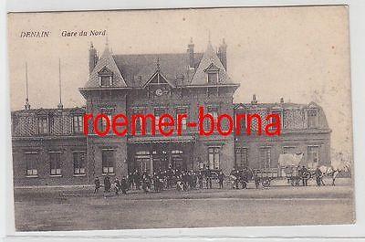 75866 Ak Denain La Gare du Nord Bahnhof 1915