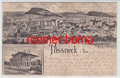 79383 Mehrbild Ak Pössneck i. Thür. Gesamtansicht und Bahnhof 1904