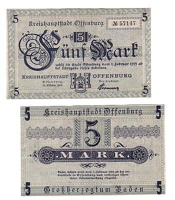 5 Mark Banknoten Stadt Kreishauptstadt Offenburg 1918 (110856)