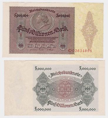 5 Millionen Mark Banknote Medaillon Schein 1.6.1923 Rosenberg 88 (122582)
