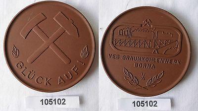 Seltene DDR Porzellan Medaille VEB Braunkohlenwerk Borna (105102)