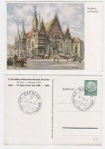 12126 Ak Ganzsache 12. Dt. Sängerbundesfest Breslau 1937 Rathaus