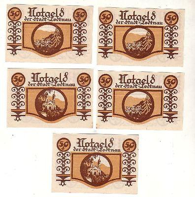 5 Banknoten 50 Pfennig Notgeld Stadt Todtnau 1921 (116959)