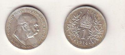 1 Krone Silber Münze Österreich 1914 (103923)