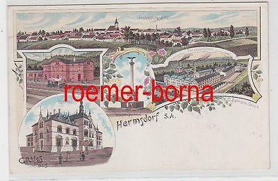 77696 Ak Lithografie Gruss aus Hermsdorf S.A. Bahnhof, Porzellanfabrik ua. 1901