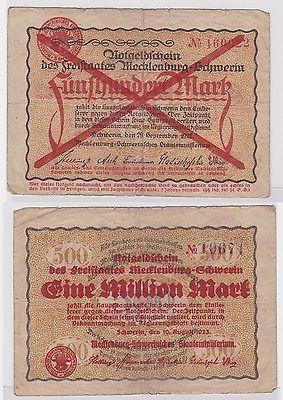 1 Million Mark Banknote Freistaat Mecklenburg Schwerin 10.8.1923 (122422)