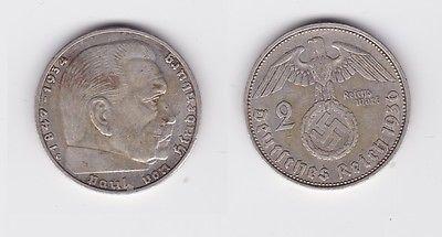 2 Mark Silber Münze 3.Reich Hindenburg 1936 G Jäger 366 (120241)