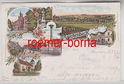 79269 Ak Lithografie Gruss aus Reichenbach O/L Bahnhof, Kirche usw. 1898