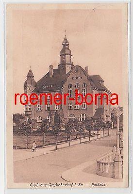 76151 Ak Gruß aus Grossröhrsdorf in Sachsen Rathaus 1931