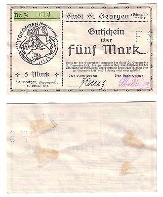5 Mark Banknote Notgeld Stadt St.Georgen im Schwarzwald 1918 (112539)