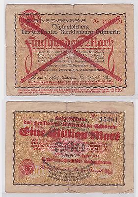 1 Million Mark Banknote Freistaat Mecklenburg Schwerin 10.8.1923 (122474)
