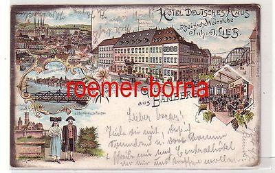 72318 Ak Lithografie Gruss aus Bamberg Hotel Deutsches Haus 1904