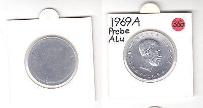 DDR Gedenk Münzen 5 Mark einseitige Alu Probe, Heinrich Hertz 1969 (119441)