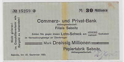 30 Millionen Mark Banknote Papierfabrik Sebnitz 25.09.1923 (118745)