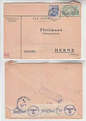 72551 seltener Zensur Post Brief von Madrid Spanien nach Herne in Westf. 1940