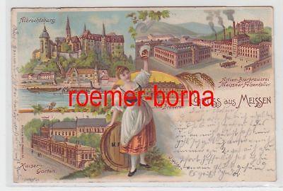 83398 Ak Lithografie Gruss aus Meissen Bierbrauerei Felsenkeller usw. 1900
