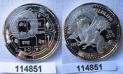 500 Rupien Silber Münze Nepal 1992 Kleiner Panda (114851) 0